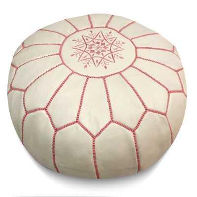 Moroccan Leather Pouf Ottoman - White / Pink - Wayfair