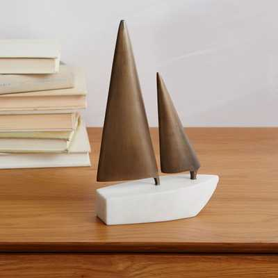 Sailboat Object - White Marble/Antique Brass - West Elm