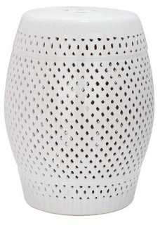 Eira Ceramic Garden Stool, White - One Kings Lane