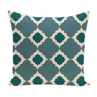 "Medina Geometric Print Throw Pillow - Aqua - 20"" H x 20"" W - Wayfair"