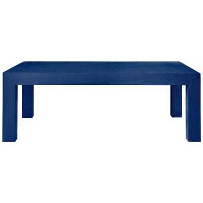 Wynne Modern Classic Blue Lacquer Grasscloth Coffee Table - Kathy Kuo Home