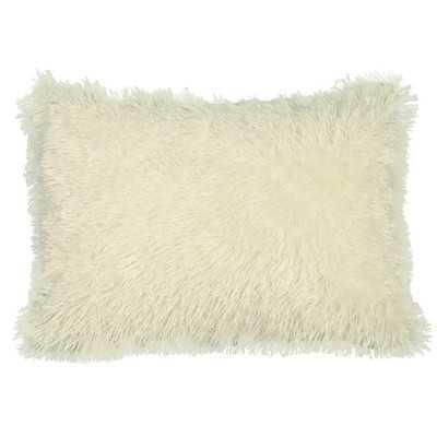 """Urban Loft Shag Lumber Pillow -Beige -14""""  x 20""""-Polyester filled - Wayfair"""