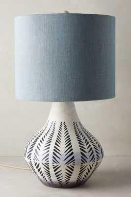 Handpainted Earthenware Table Lamp Ensemble - Small-Indigo - Anthropologie