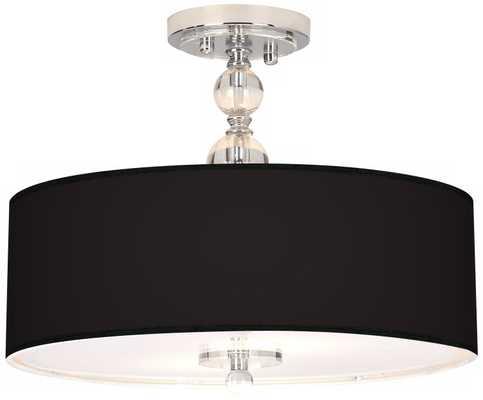"All Black Giclee 16"" Wide Semi-Flush Ceiling Light - Lamps Plus"