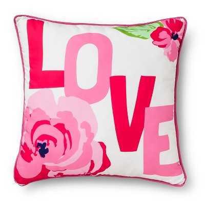 Love Flower Print Decorative Pillow - White/Pink - Target