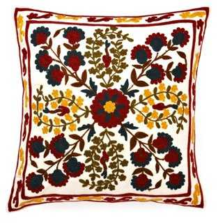 Bordered Embroidered Pillow - One Kings Lane