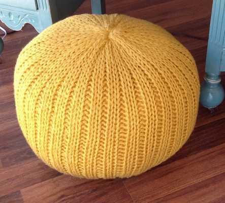 Knitted pillow pouf ottoman mustard yellow - Etsy