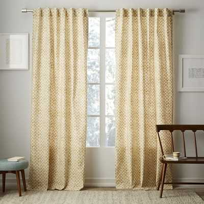 "Cotton Canvas Stamped Dots Curtain - Horseradish - 108"" - West Elm"