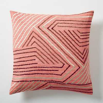 """Embroidered Maze Pillow Cover - Poppy - 18"""" - No insert - West Elm"""