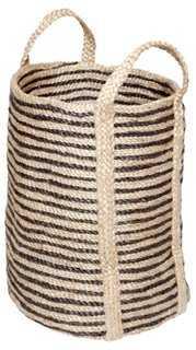 Jute Laundry Basket, Charcoal Stripe - One Kings Lane