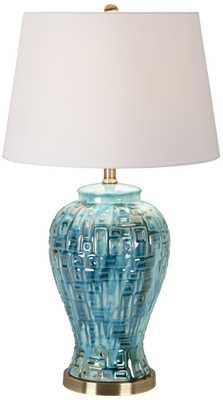 """Teal Temple Jar 27"""" High Ceramic Table Lamp - Lamps Plus"""