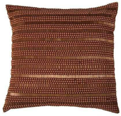 "ELLA BEADED 20"" PILLOW-Orange-Polyester insert - Home Decorators"