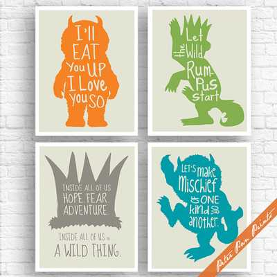 """Where the Wild Things Are Inspired Quotes - Set of 4 Art Print (Unframed) - 8"""" x 10"""" - Etsy"""