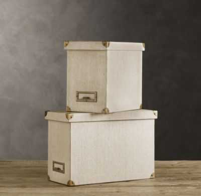LINEN DESKTOP FILE BOX SAND - RH