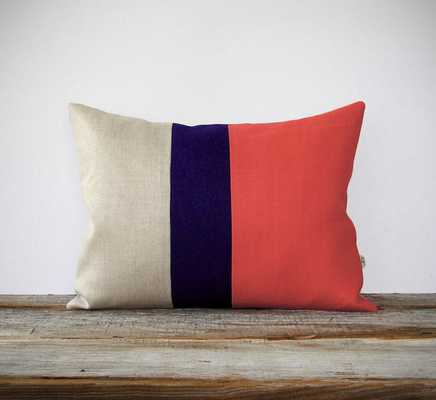 Color Block Pillow Cover in Coral, Navy & Natural Linen - 12x16 - Insert sold separately - Etsy