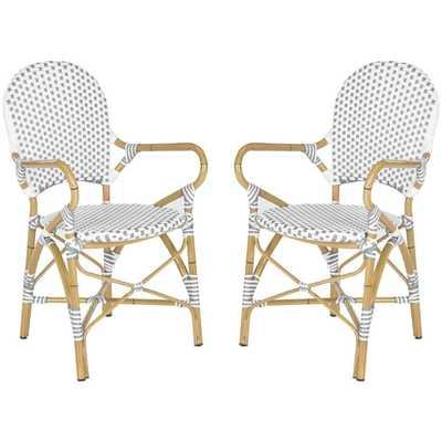 Safavieh Hooper Grey/ White Indoor Outdoor Stackable Arm Chair (Set of 2) - Overstock