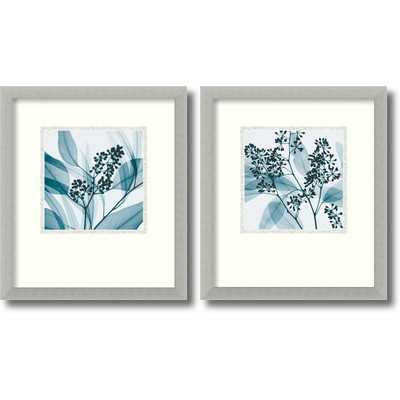 "'Silver Eucalyptus' Photographic Print - 16.68"" H x 14.68"" W - Silver Leaf Frame with Mat - Wayfair"