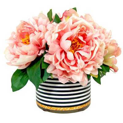 Spring Additions Peony in Striped Pot - Wayfair