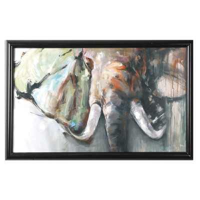 """Bull Rush Elephant Framed Painting-35"""" H x 54"""" W-Framed - Wayfair"""