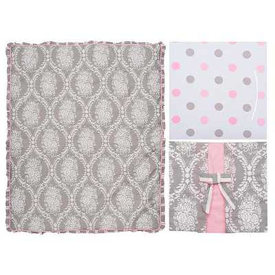 My Baby Sam Olivia Rose 3 Piece Crib Bedding Set - Gray/Pink - toysrus.com