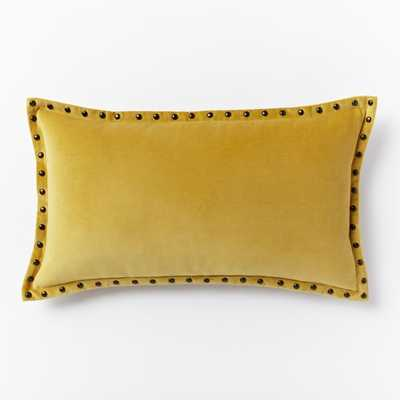 Studded Velvet Pillow Cover - Horseradish - West Elm
