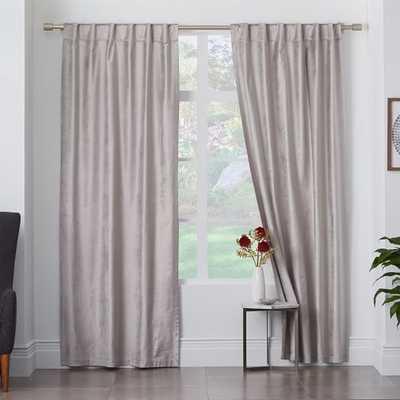 "Luster Velvet Curtain - Individual-Blackout Lining-48"" Single Panel-124"" - West Elm"