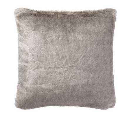 FAWN FAUX FUR PILLOW COVER-Gray - 18sq. - Insert sold separately - Pottery Barn