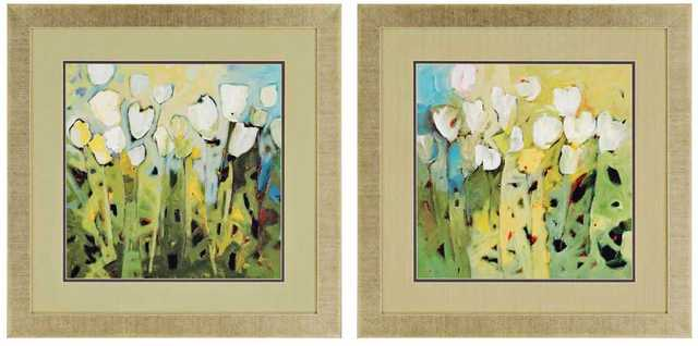 """Set of 2 White Tulips 28"""" Square Framed Floral Wall Art - Lamps Plus"""