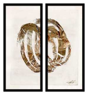Shut the Door, Have Some Gold Diptych I- Set of 2- 22.5x25.25 - Framed - One Kings Lane