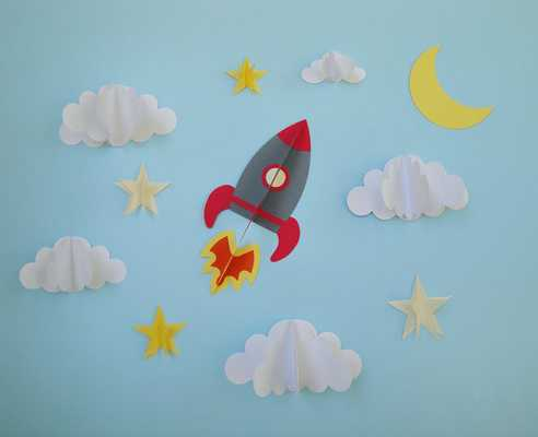 Rocket Ship 3D Wall Decals - Etsy