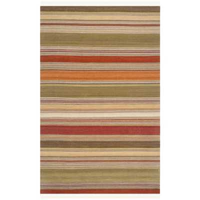 Hand-Woven Striped Kilim Green Wool Rug (8' x 10') - Overstock