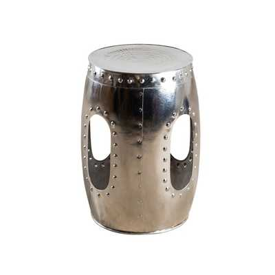 Round Mirror Nickel Rivet Barrel Stool (India) - Overstock