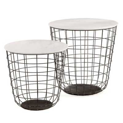 Set of 2 Terrace Tables w/Marble Top - Domino