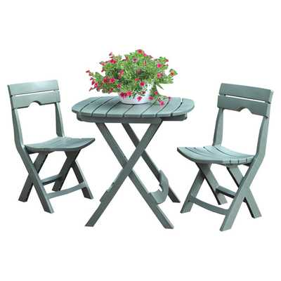 Quik-Fold 3 Piece Bistro Set -Sage - Wayfair