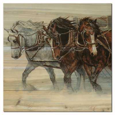 Winter Wind Horses Painting Print on Woodby WGI GALLERY - Wayfair
