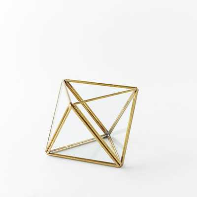 Faceted Terrarium, Small, Gold - West Elm