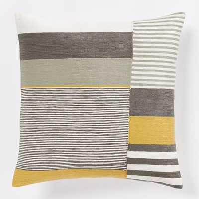 Margo Selby Crewel Colorblock Pillow Cover - Frost Gray - West Elm
