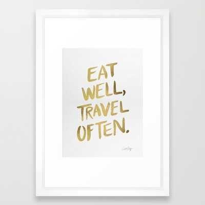 """Eat Well Travel Often on Gold - 10"""" x 12"""" - Framed - Society6"""