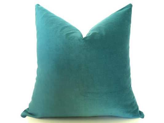 "Cotton Velvet Pillow Cover - Emerald Green, 18""x18"" - Insert Sold Separately - Etsy"