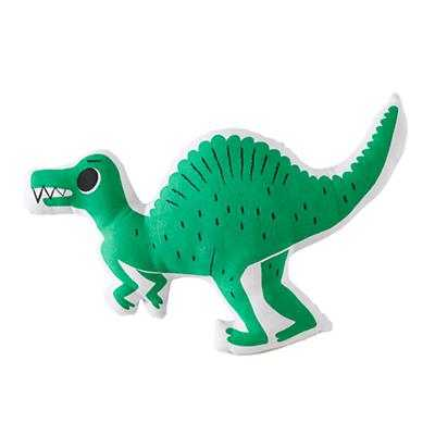 Green Dinosaur Retro Reptile Throw Pillow - 12x19 - With Insert - Land of Nod