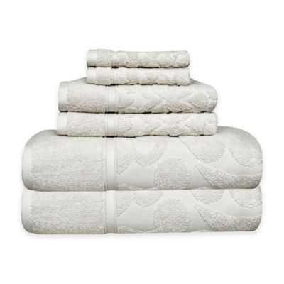 Duchene Turkish Cotton Jacquard 6-Piece Towel Set in White - Bed Bath & Beyond