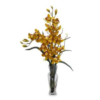Nearly Natural Cymbidium Silk Flower Arrangement in Yellow - Bed Bath & Beyond