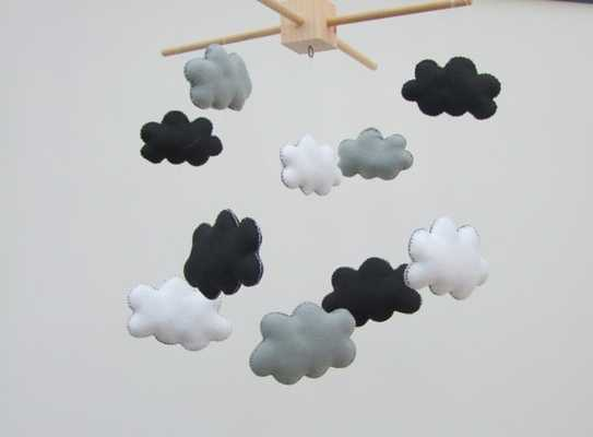 Black and white baby mobile - Wooden Hanger Only - Etsy