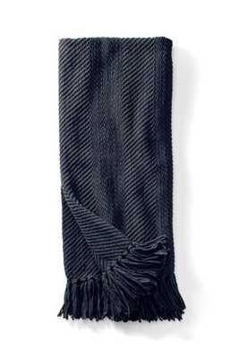Chenille Throw - Navy - landsend.com