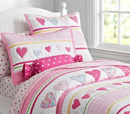 Heart Quilt, Twin, Bright Pink - Pottery Barn Kids