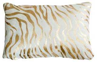 Baby Zebra Hide Pillow, Gold - One Kings Lane