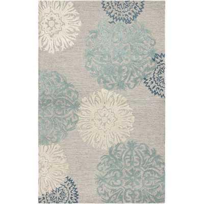 Amerique Hand-Tufted Light Gray Area Rug - 5' x 8' - Wayfair