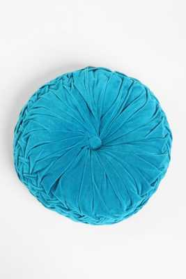 """Round Pintuck Pillow - Turquoise - 16"""" SQ - Poly fill - Urban Outfitters"""