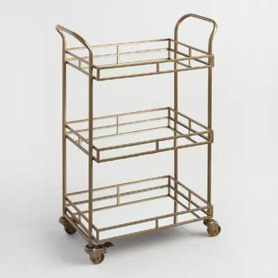 Gold Cole 3-Tier Rolling Bar Cart - World Market/Cost Plus