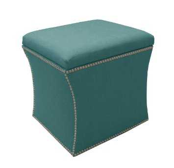 Skyline Furniture Nail Button Storage Ottoman in Linen, Teal - Amazon